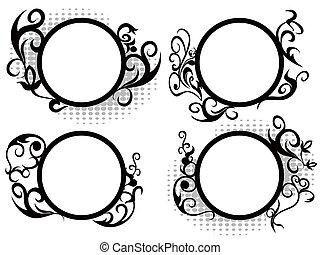 decorazione floreale, cerchio, cornice