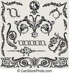 decorazione, floreale, set, elementi, classico