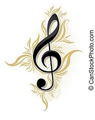 decorazione, g, disegno, lucido, floreale, chiave, musicale
