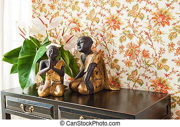 decorazione, interno, fiori, parteggiare tavola