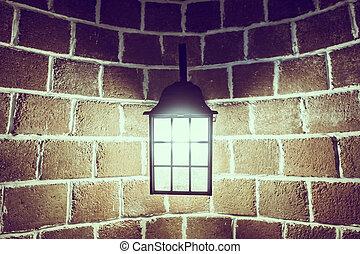 decorazione, luce, lampada, parete