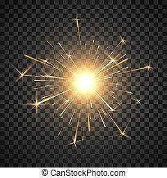 decorazione, magia, firework., urente, effect., luce, light., isolato, illustrazione, fire., realistico, vettore, fondo, sparkler, festa, bengala, baluginante, trasparente, element.