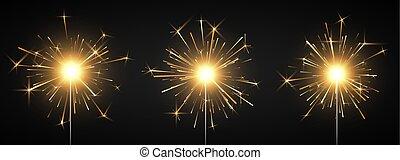 decorazione, magia, firework., urente, light., isolato, illustrazione, fire., vettore, sfondo nero, sparkler, festa, bengala, baluginante, element.