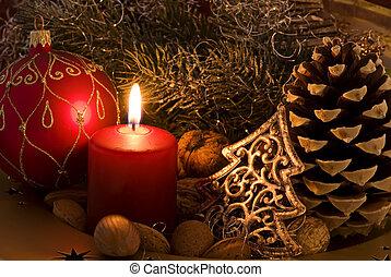 decorazione, natale, lume di candela