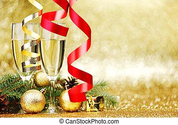 decorazione, nuovo, champagne, anno