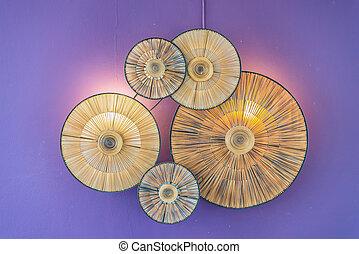 decorazione, parete, lampada