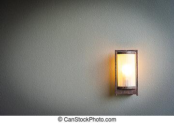 decorazione, parete, luce, lampada