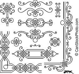 decorazione, retro, pagina