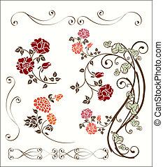 decorazione, rosa, set