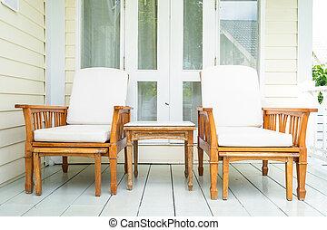 decorazione, sedia, vuoto, mobilia