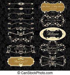 decorazione, set, retro, elementi, pagina