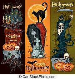 decorazione, sinistro, bandiere, festa halloween