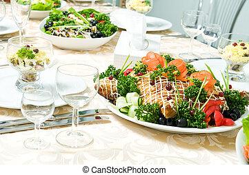 decorazione, tavola, set, ristorazione