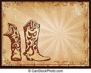 decorazione, vecchio, cowboy, testo, cornice, carta, fondo