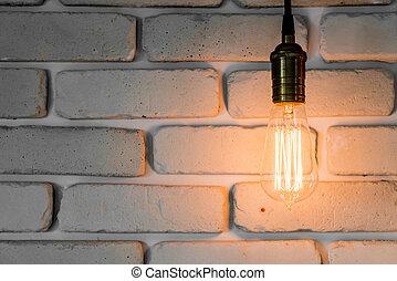 decorazione, vendemmia, lampada, luce