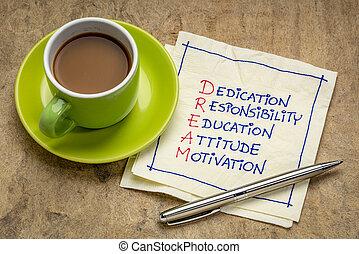 dedica, concetto, educazione, responsabilità