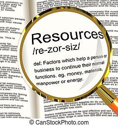 definizione, attività, affari, manodopera, materiali, magnificatore, risorse, mostra
