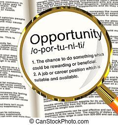 definizione, carriera, possibilità, caso, posizione, magnificatore, opportunità, o, mostra