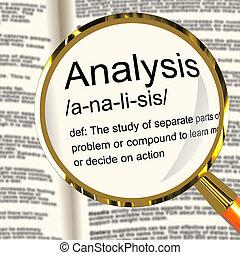 definizione, studio, esaminare, esposizione, analisi, sondaggio, magnificatore, o