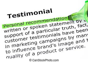 definizione, testimonial