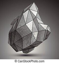 deforme, oggetto, isolato, cibernetico, elemento, fondo., complesso, bianco, tecnologia, zink