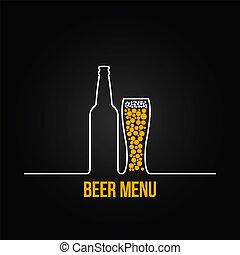 deign, vetro, bottiglia birra, fondo