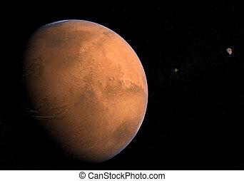 deimos, phobos, -, lune, marte