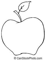 delineato, cartone animato, mela