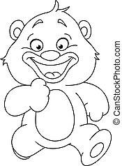 delineato, correndo, orso, teddy
