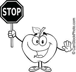 delineato, fermata, mela, presa a terra, segno