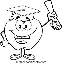 delineato, mela, presa a terra, diploma