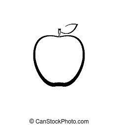 delineato, mela, segno
