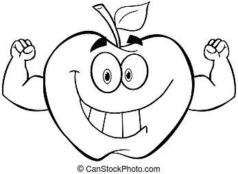 delineato, muscolo, mela, braccia