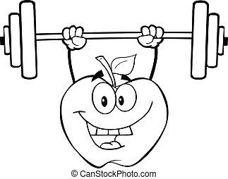 delineato, pesi, mela, sollevamento