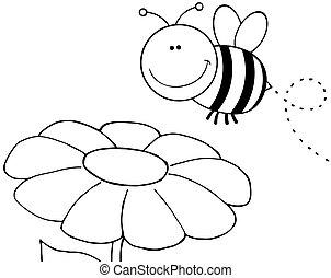 delineato, volando, fiore, ape