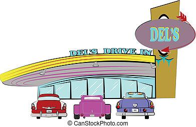 dels, guidare, locanda, anni cinquanta