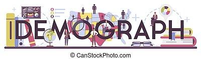 demograph, popolazione, scienziato, studiare, header., crescita, tipografico