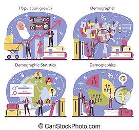 demographer, popolazione, crescita, set., scienziato, studiare, concetto