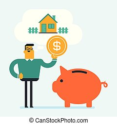denaro risparmio, house., piggy, acquisto, banca, uomo