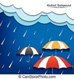 denso, astratto, pioggia, vettore, ombrello, fondo, nubi