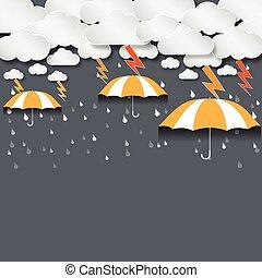 denso, pioggia, vettore, ombrello, fondo, nubi