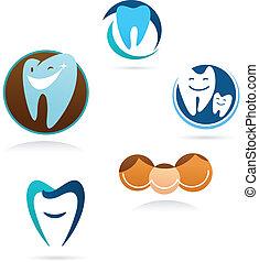 dentale, clinica, collezione, icone