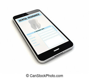 dentale, smartphone, assicurazione, render
