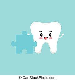 dente, puzzle, carino, piece.
