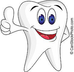 dente, su, pollice