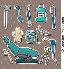dentista, adesivi, attrezzo, cartone animato