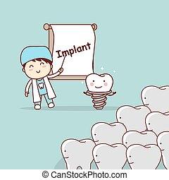 dentista, denti, insegnare, impianto