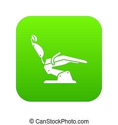 dentista, icona, sedia verde, digitale