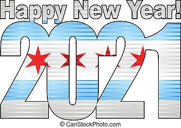 dentro, chicago, 2021, nuovo, bandiera, anno, felice