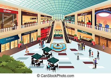 dentro, shopping, scena, centro commerciale